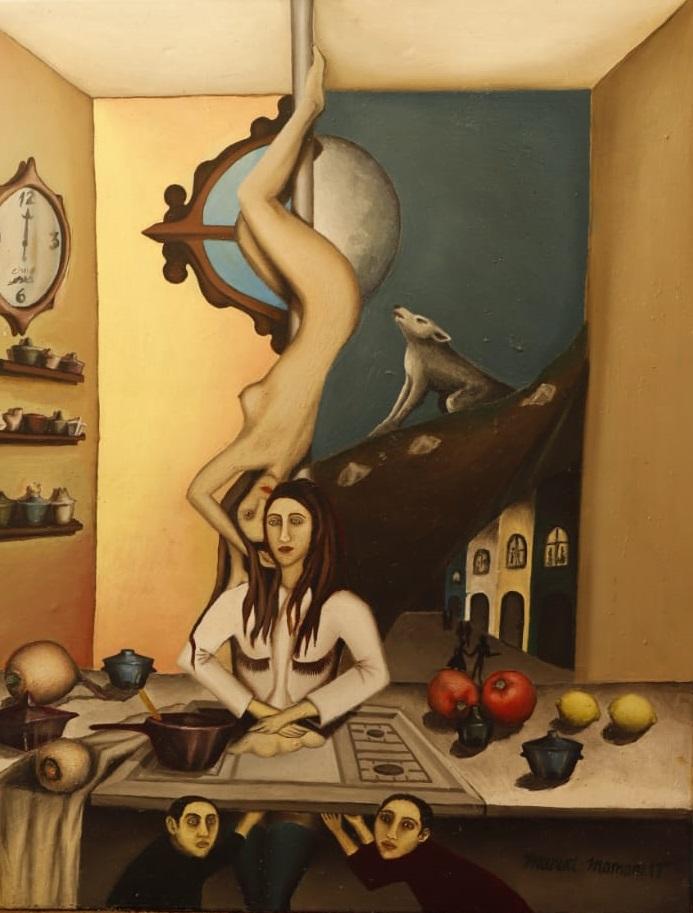 La cocina de la sensualidad. Óleo sobre tela